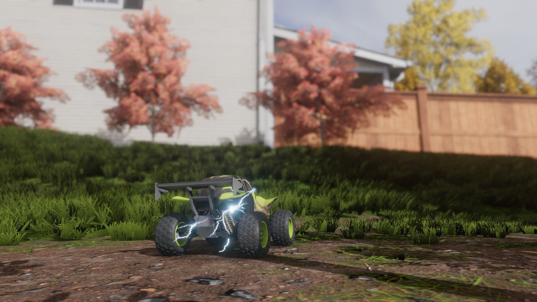 An image of a remote controlled car in some grass in Pocket Cars.