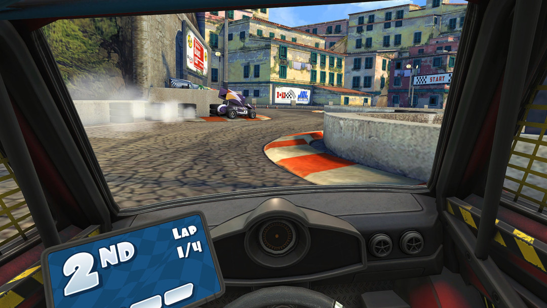 An image of the cockpit VR view from Mini Motor Racing X.