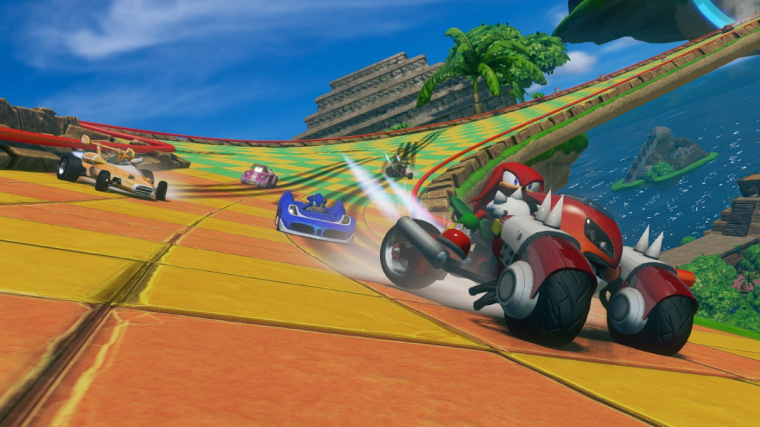 An image of several cars racing in Sonic and All-Stars Racing Transformed Collection.