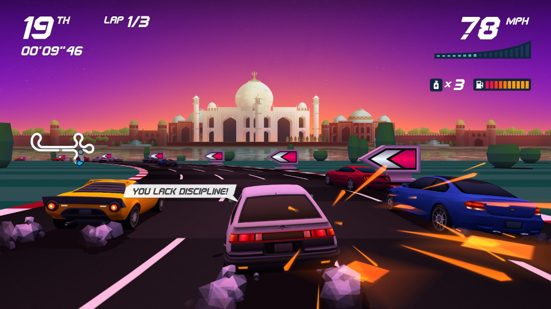 An image of a car racing at sunset in Horizon Chase Turbo.