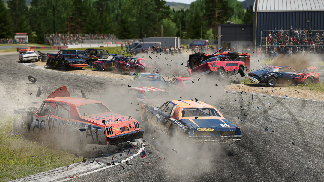 An image of an enormous collision in Wreckfest.