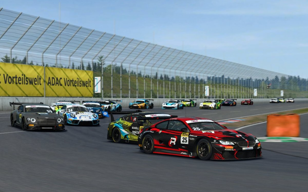 An image of a whole field of cars racing in the ADAC GT Masters.