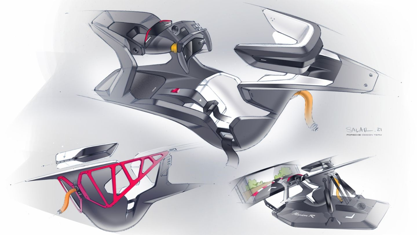 An image of some sketches of the cockpit of the Porsche Mission R, including it being used as a sim rig
