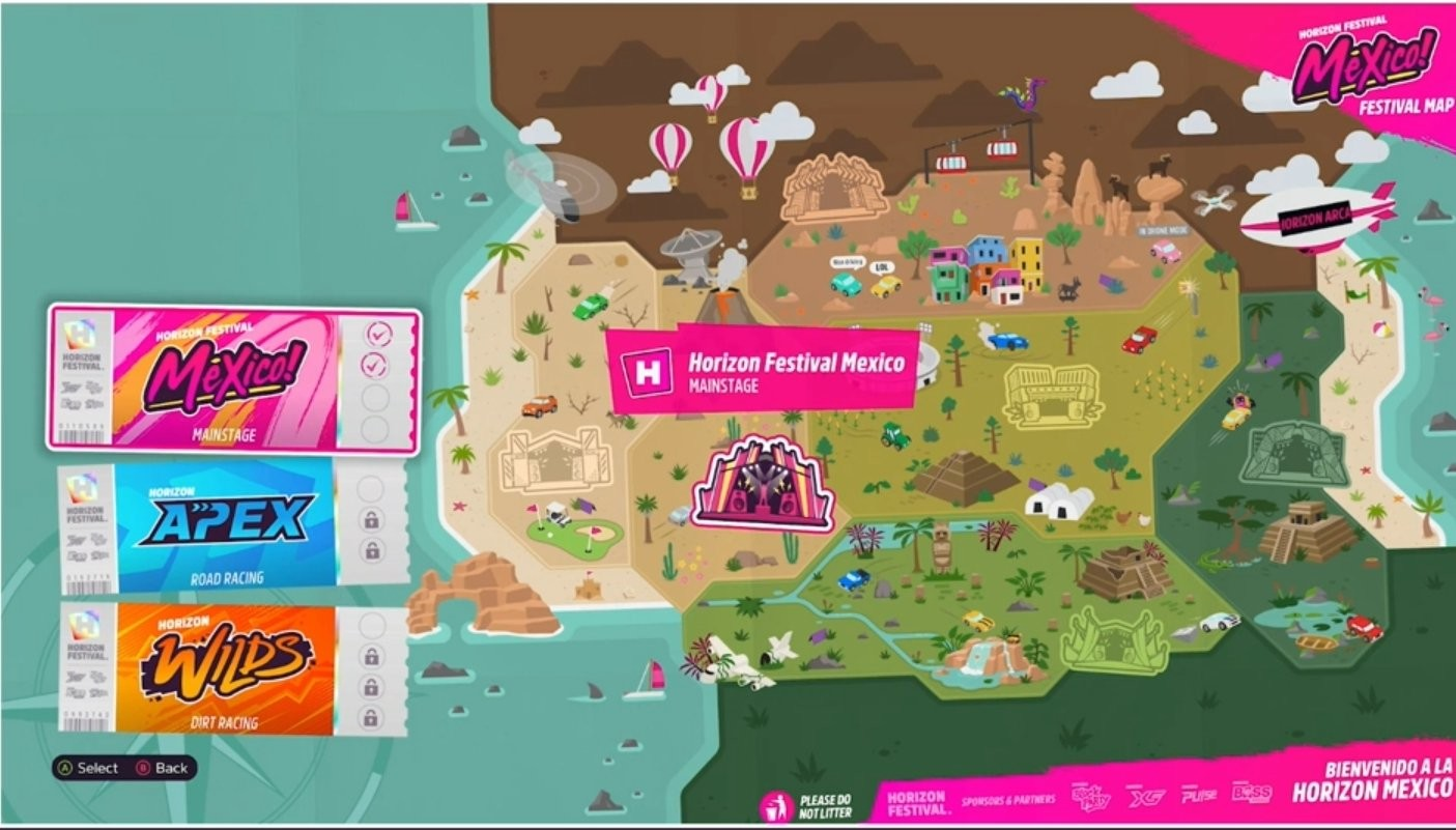 The stylised map that will feature in Forza Horizon 5.