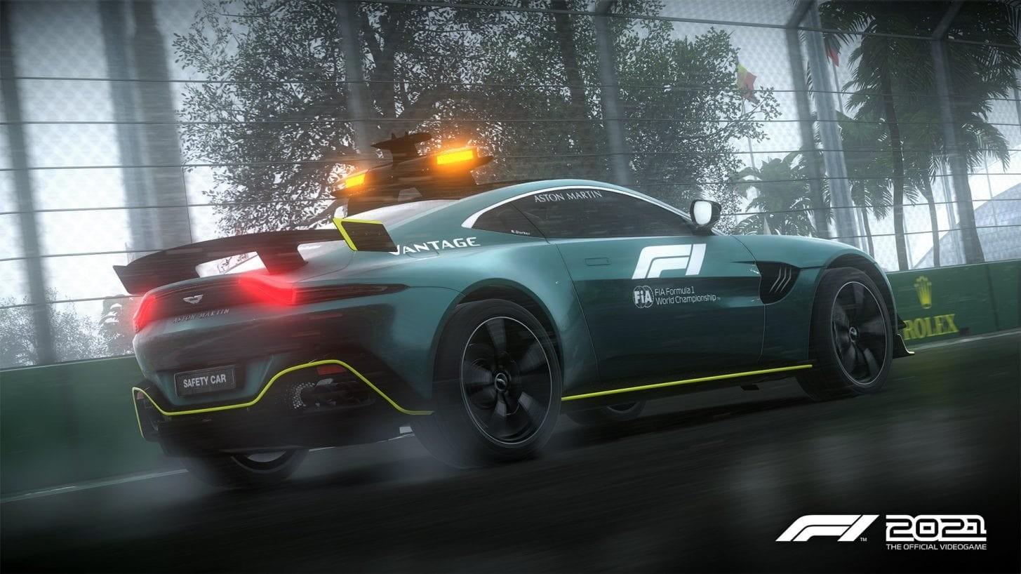 An image of the new Aston Martin Vantage safety car in F1 2021.