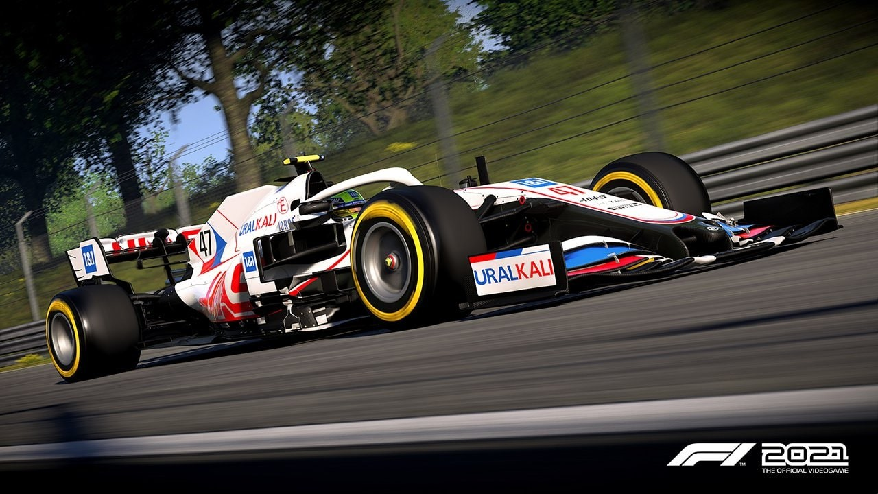 An image of a Haas F1 car in F1 2021.