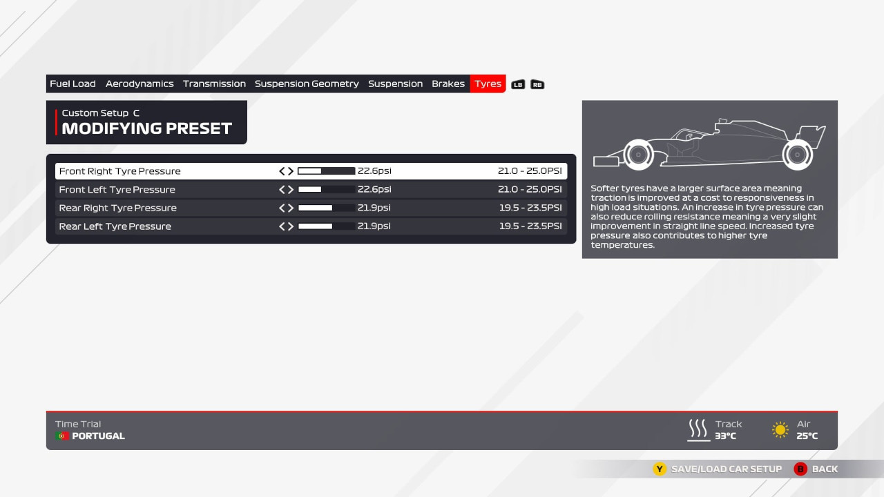 An image of the tyres page of the F1 2021 setup menu.