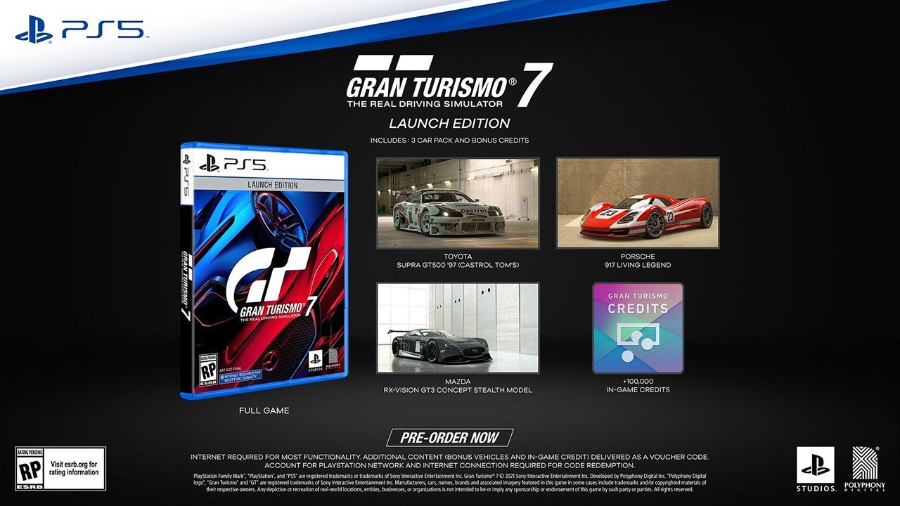 The PlayStation 5 Standard Edition disc version with the pre-order bonuses of a 1997 Toyota Supra GT500, Mazda RX-Vision GT3 Concept Stealth Model and Porsche 917 Concept.
