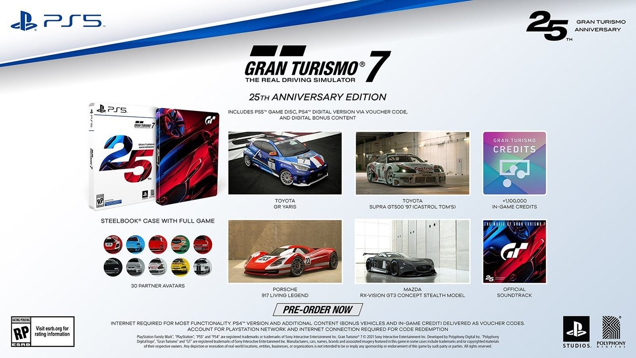 The PlayStation 5 25th Anniversary Edition disc version with the pre-order bonuses of a 1997 Toyota Supra GT500, a Mazda RX-Vision GT3 Concept Stealth Model, Porsche 917 Concept, a Toyota GR Yaris and exclusive PSN avatars.