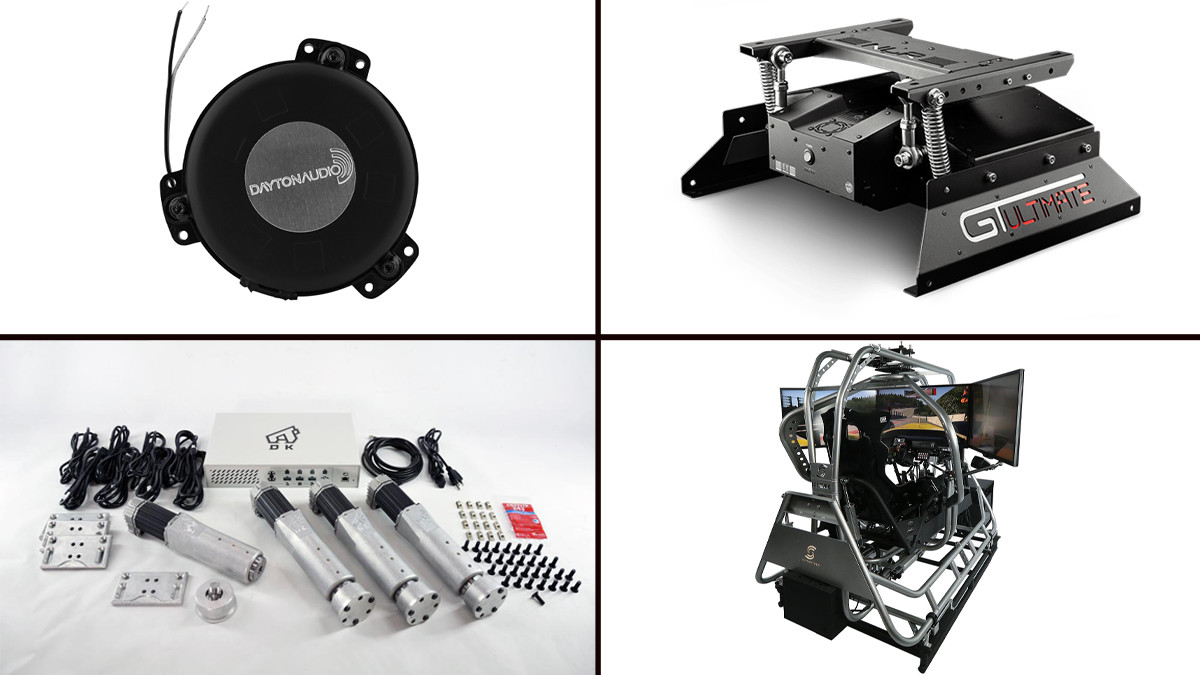 picture of the four options to add motion, a tactile transucer, a seat mover, a servo motor set and a large motion platform