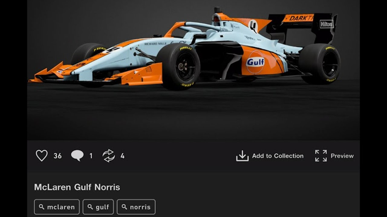 A Super Formula car with the McLaren Monaco Grand Prix Gulf one-off livery using the tags 'McLaren', 'Gulf' and 'Norris'.