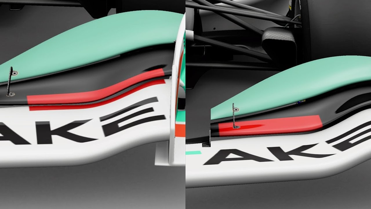 An example of using the projection methods along the surface of the front wing plates or angling a camera to ensure it doesn't project onto the lower surface.