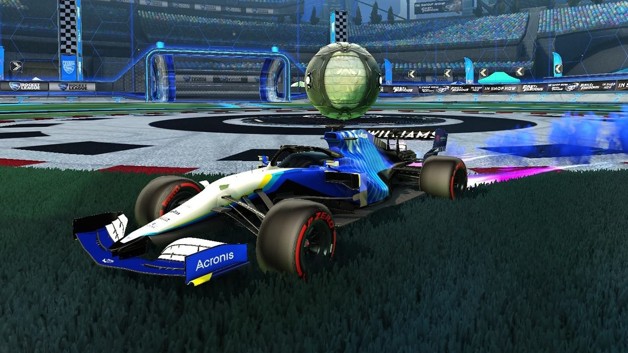 F1 car with Williams skin in Rocket League.