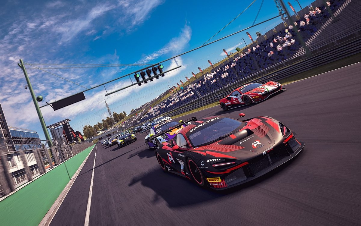 An image of a field of cars leaving the start line in Assetto Corsa Competizione.