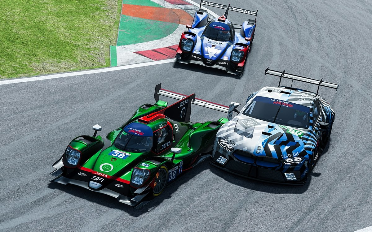 An image of cars from two different classes races each other in the Le Mans Virtual Series.