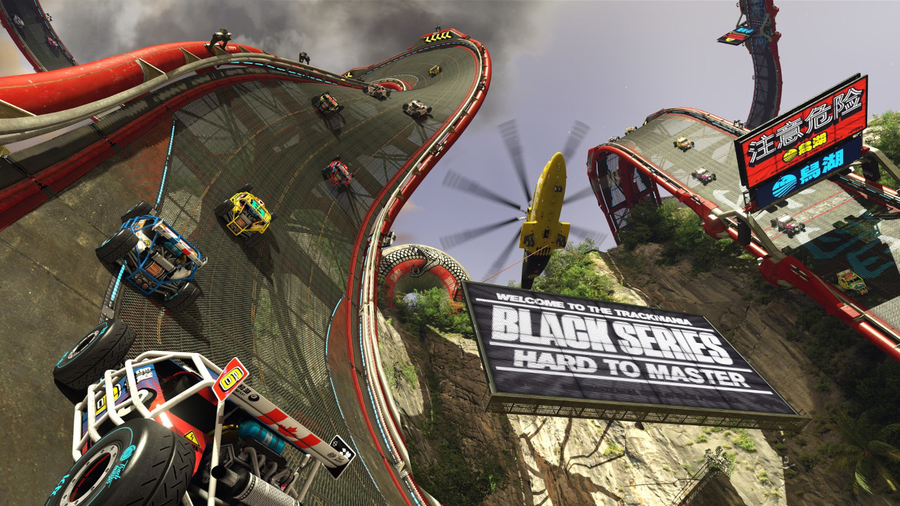 An image of several cars driving on a twisting road suspended in the air in Trackmania Turbo.
