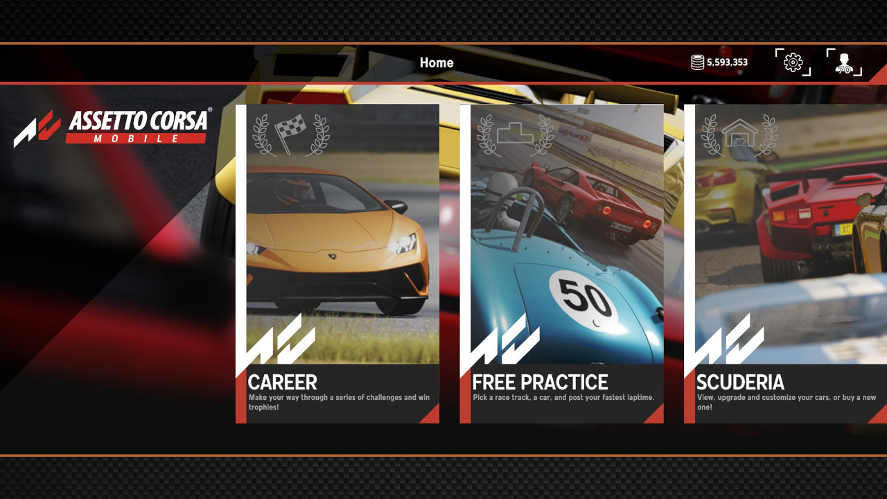An image of the main menu screen in Assetto Corsa Mobile.