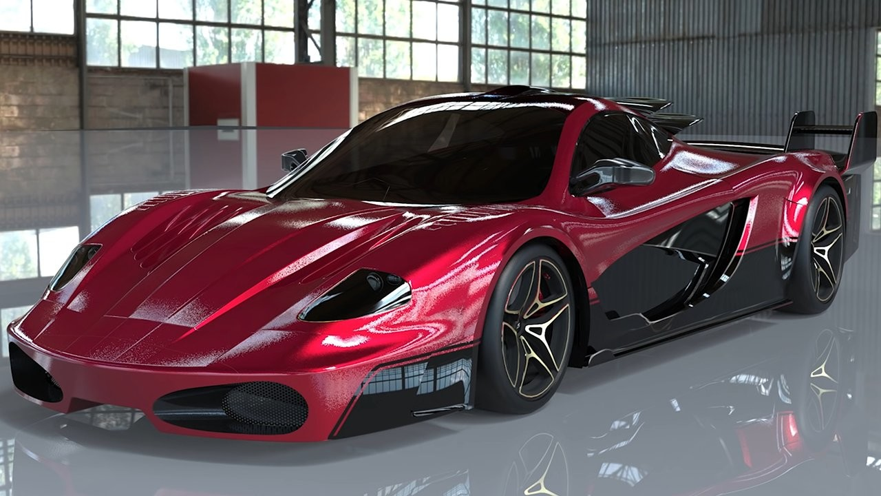 The car digitally rendered in and situated in a warehouse looking environment.